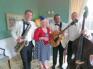 A wedding guest joins the Trio for a song at Balbirnie House Hotel
