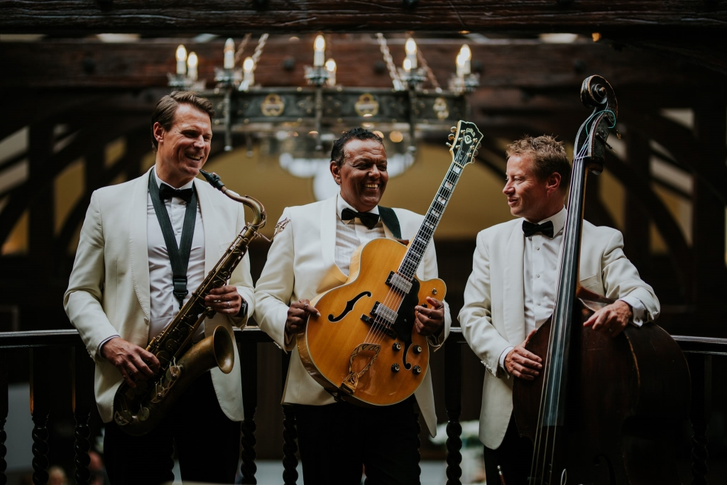 Daytime wedding entertainment Crossbasket Castle Scotland Ritz Trio