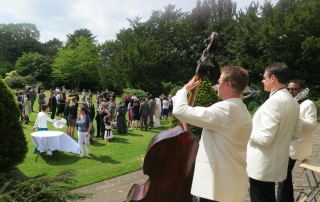 Double bass playing in the sun at Errol Park