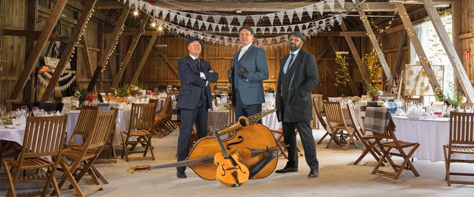 barn weddings in Scotland the Ritz Trio band